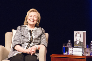 DANIEL SMITH/THE HOYA Clinton discussed her tenure at the State Department in a conversation at GWU's Lisner Auditorium.