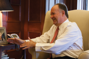 University President John J. DeGioia, in his Healy Hall office, discusses entering his 14th year as university president on the 40th anniversary of his acceptance to Georgetown as an undergraduate.