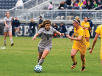 FILE PHOTO:ALEXANDER BROWN/THE HOYA Reigning Big East Midfielder of the Year, senior Daphne Corboz was a unanimous all-Big East First team selection. Corboz and the women's soccer team were voted 20th in the NCAA preseason poll. The Hoyas will play their first home game this Friday against NC State.