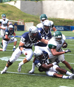 FILE PHOTO: CLAIRE SOISSON/THE HOYA Senior linebacker Nick Alfieri recorded 14 tackles in Saturday's 27-7  win over Marist. The Hoya defense created three turnovers in the win.