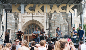 MICHELLE XU/THE HOYA Peter Fanone (COL '15) performs at Kickback, a music festival sponsored by The Corp and Welcome Week on Sept. 1. The groups have not yet decided whether they will hold the festival next year.