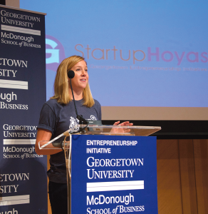 COURTESY TERESA MANNIX Victoria Schramm (COL '12) announced the Georgetown Startup Stipend Program at last Friday's Entrepreneurship Day.