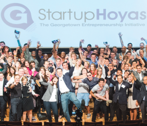 COURTESY STARTUP HOYAS Members of Startup Hoyas celebrate the 2013 Georgetown Entrepreneurship Day. This year's Startup Weekend will begin Sept. 19.