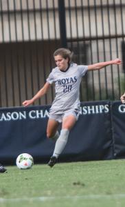 FILE PHOTO: JULIA HENNRIKUS/THE HOYA Freshman midfielder Rachel Corboz scored in the Georgetown's 1-0 win over the Xavier.