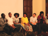 CHARLIE LOWE/THE HOYA Jamelle Bouie of Slate, Brandon Anderson (COL '15), Deloris Wilson (LAW '16), Katrina Gamble of the Leadership Center for the Common Good, Jiva Manske of Amnesty International and Black Student Alliance members.
