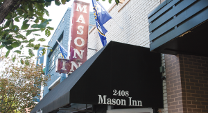 MICHELLE XU/THE HOYA Bouncers did not allow underage seniors to enter the Mason Inn during much of a Dis-O event on Saturday night, although the bar's management agreed that it could be an 18-and-up event.