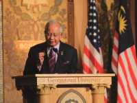 DAN GANNON FOR THE HOYA Malaysian Prime Minister Najib Razak discussed foreign diplomacy and the future of Asian policy in Gaston Hall on Tuesday. His speech kicked off the Lecture Fund's event series this year.