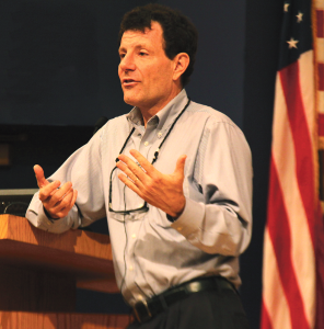 NATASHA THOMSON/THE HOYA Author and columnist Nicholas Kristof, the recipient of two Pulitzer Prizes, spoke on human rights and global inequalities Sunday.
