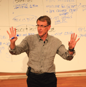JULIA HENNRIKUS/THE HOYA Venture capitalist John Doerr highlighted non-traditional career paths in entrepreneurship in Lohrfink Auditorium on Friday afternoon.