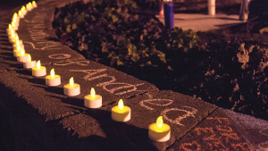 NATASHA THOMSON/THE HOYA Students created a memorial for Andrea Jaime (NHS '17) in Red Square.