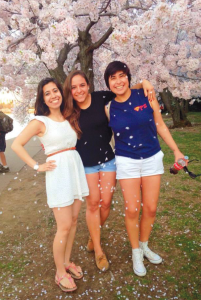 COURTESY MANSI VOHRA Jaime poses with friends during cherry blossom season