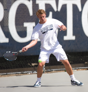 FILE PHOTO: MICHELLE XU/THE HOYA Senior co-captain Shane Korber won his singles match 6-0, 6-1 against St. Josephs at the Penn Invitational tournament.