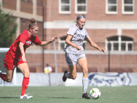 FILE PHOTO: CHRIS GRIVAS/THE HOYA Sophomore forward Grace Damaska notched her first goal of the season against Virginia Tech in a 6-1 loss Friday night. The loss came on the heels of a  four-game unbeaten streak.
