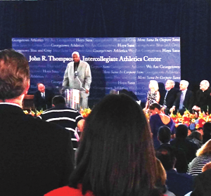 COURTESY ANDREW MINKOVITZ Legendary Hoyas basketball coach John Thompson spoke at the groundbreaking ceremony for the Thompson Athletic Center. Former players, the current team and a pair of recruits were in attendance.