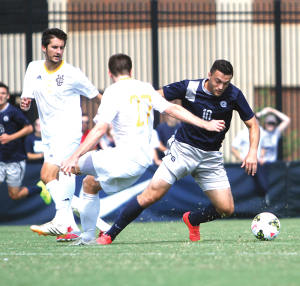 CHRIS GRIVAS/THE HOYA Junior forward Brandon Allen scored Georgetown's lone goal in a 1-1 draw against the No. 9 UC Irvine Anteaters at Shaw Field on Sunday.