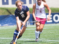 JULIA HENNRIKUS/THE HOYA Junior midfielder and captain Louise Chakejian set up Georgetown's only goal of the game, which was scored by freshman forward Megan Parsons.
