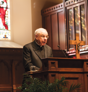 MICHELLE XU/THE HOYA Rev. John W. Padberg, S.J., spoke at a lecture marking the 200th anniversary of the restoration of the Society of Jesus.