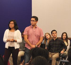 CHARLIE LOWE/THE HOYA GUSA Director of Outreach Eng Gin Moe (SFS '16) and Deputy Director of Outreach Rodrigo Gonzalez (SFS '15) lead the Multicultural Council's first town hall, which aimed to solicit feedback on the council's agenda.