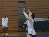FILE PHOTO: MICHELLE XU/ THE HOYA Senior outside hitter Alex Johnson had 16 kills and 17 digs against the Butler Bulldogs in four sets played during the 3-1 away loss.
