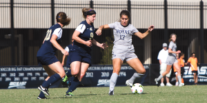 JULIA HENNRIKUS/THE HOYA Senior forward Vanessa Skrumbis scored in the 24th minute of the match against the West Virginia Mountaineers in Friday's 1-1 draw. Skrumbis and the Hoyas then handed George Washington a 1-0 overtime loss Sunday.