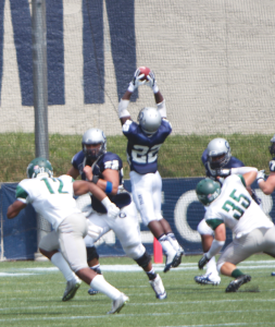 File PHOTO: CLAIRE SOISSON/THE HOYA Junior running back Jo'el Kimpela ranks second on the team in total yards from scrimmage with 136. Kimpela wore the number 39 for his first two years at Georgetown before switching to number 22.