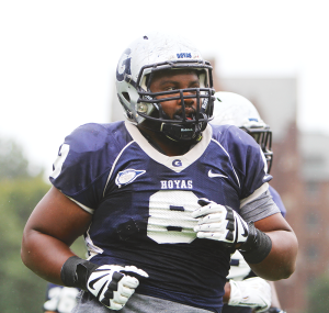 FILE PHOTO: cHRIS Grivas/THE HOYA Junior defensive lineman Jordan Richardson has 22 tackles this season. Richardson wore number 8 in his junior year before swtiching to 99.