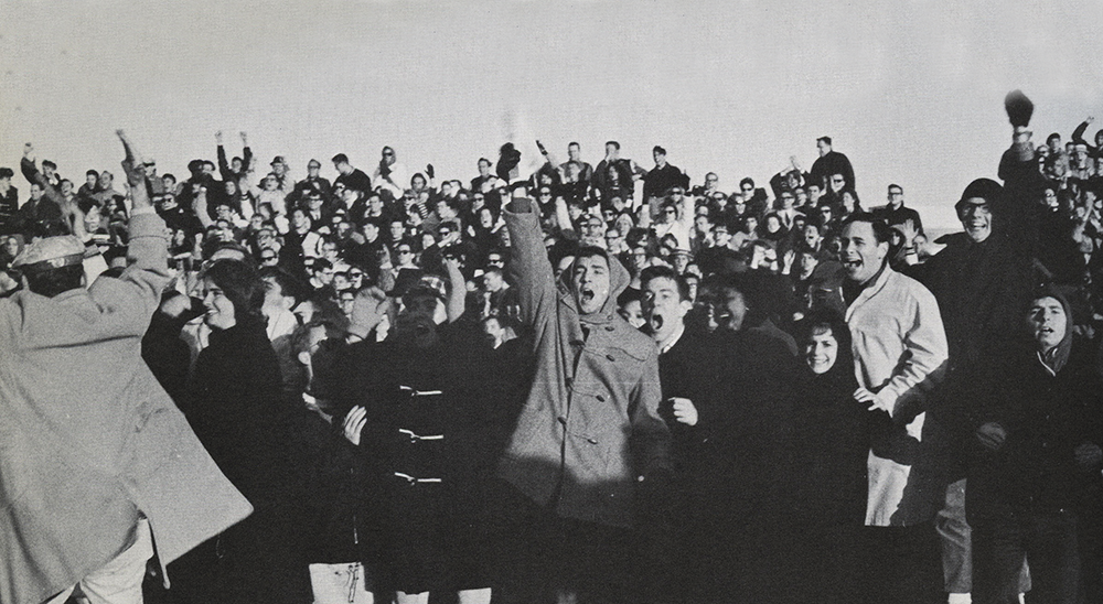 COURTESY GEORGETOWN UNIVERSITY ARCHIVES The crowd at the 1964 game between Georgetown's team, made up of intramural players, and NYU.