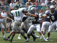 CLAIRE SOISSON/THE HOYA Senior linebacker Nick Alfieri