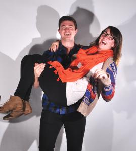 ELISA AKI BERGER FOR THE HOYA Assistant Student Producers Brett Treacy (MSB '15) and Megan Schmidt (COL '15) .