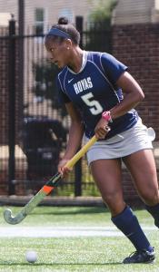 JULIA HENNRIKUS/THE HOYA Sophomore Aliyah Graves-Brown scored in OT versus Holy Cross.