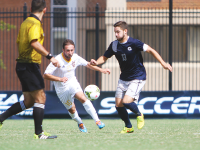 FILE PHOTO: CHRIS GRIVAS/THE HOYA Senior midfielder Tyler Rudy  scored what would be the winning goal in the Hoyas' 3-1 victory over Princeton on Wednesday. Rudy has two goals on the season and is one of the team's captains.