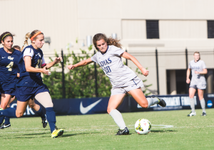 FILE PHOTO: Claire Soisson/The Hoya Senior forward Sarah Adams scored two second-half goals in Georgetown's 3-3 draw against the DePaul Demon Deacons on Thursday.