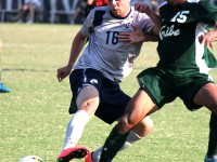 FILE PHOTO: ERIN NAPIEr/THE HOYA Sophomore forward Brett Campbell earned his first career start and had a shot on goal Saturday. He has appeared in 14 games this season.