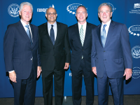 COURTESY PAUL ALMEIDA From left: former President Bill Clinton (SFS '68), professors Paul Almeida and Michael O'Leary and former President George W. Bush. The MSB professors will participate in the Presidential Leadership Program.