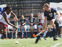 FILE PHOTO: JULIA HENNRIKUS/THE HOYA Junior midfielder Emily Weinberg registered one of just two overall shots on goal for the Hoyas against the Huskies Saturday. UConn had 27 shots.