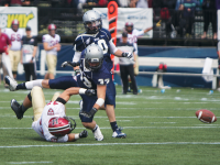 File photo: Claire Soisson/THE HOYA Junior defensive back Garrett Powers had seven tackles and forced a fumble Saturday. It was the third turnover forced by Powers this season.
