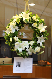 CLAIRE SOISSON/THE HOYA A memorial at the SFS Dean's Office this week.