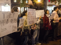 Protesters met at the Sabra Hummus House, a pop-up hummus restaurant on Wisconsin Avenue, to protest the company's support of the Israeli army.