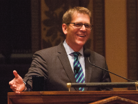 JULIA HENNRIKUS/THE HOYA Jay Carney discussed his career as the former White House press secretary for the Obama administration Monday in Gaston Hall.