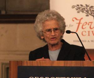 TINA NIU FOR THE HOYA Hebrew University of Jerusalem professor Ruth Gavison talked about Judaism in Israel.