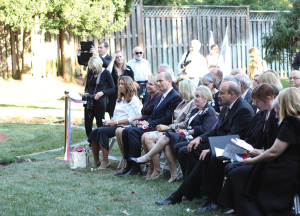 JULIA HENNRIKUS FOR THE HOYA Madeline Albright, fourth from right, was among among the dignitaries at the Václav Havel Place memorial dedication Wednesday.