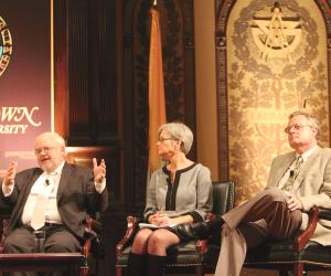NATALIA ORTIZ/THE HOYA Catholic leaders discussed Catholic social thought in Gaston Hall on Thursday.