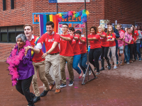 MICHELLE XU/THE HOYA LGBTQ students and allies join together in Red Square to celebrate National Coming Out Day on Oct. 11 as part of this year's LGBTQ History Month and OUTober programming.