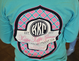 FILE PHOTO: OLIVIA HEWITT/THE HOYA Members of Kappa Kappa Gamma sported T-shirts for spring recruitment last semester. KKG is an unrecognized sorority at Georgetown.
