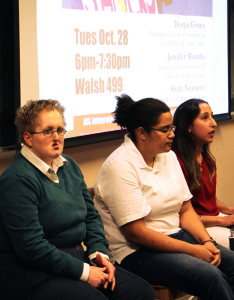 CLAIRE SOISSON/THE HOYA Three panelists spoke about the instiutional abuse that disabled people often face in a discussion on Tuesday.