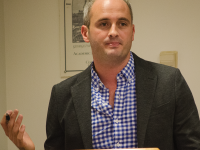 DAN GANNON FOR THE HOYA Professor Brian McCabe explained the effects of gentrification on D.C.'s demographics and neighborhoods in an event Tuesday.