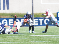 File photo: Julia hennrikus/The hoya Junior wide receiver Jake DeCicco leads the Hoyas in catches with 27, receiving yards with 269, and yards per game with 44.8 through six games.