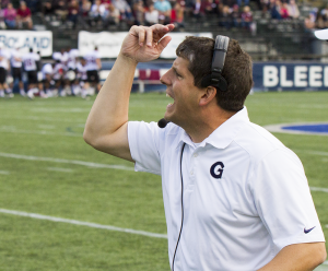 FILE PHOTO: ALEXANDER BROWN/THE HOYA First-year Head Coach Rob Sgarlata has lead the Hoyas to a 2-6 record thus far. He was previously an assistant coach and defensive coordinator for eight years.
