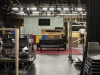 "MICHELLE XU/THE HOYA Work is under way for the set of Nomadic Theatre's production of ""boom,"" which will open in Walsh Black Box Theatre on Oct. 30. The play is  being produced by Suzanne Coles (COL '17) and has been put together by the hard work and dedication of a student production team."