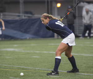FILE PHOTO: JULIA HENNRIKUS/THE HOYA Sophomore defender Devin Holmes has one goal and two assists in 14 starts. Holmes has two of the team's six defensive saves.